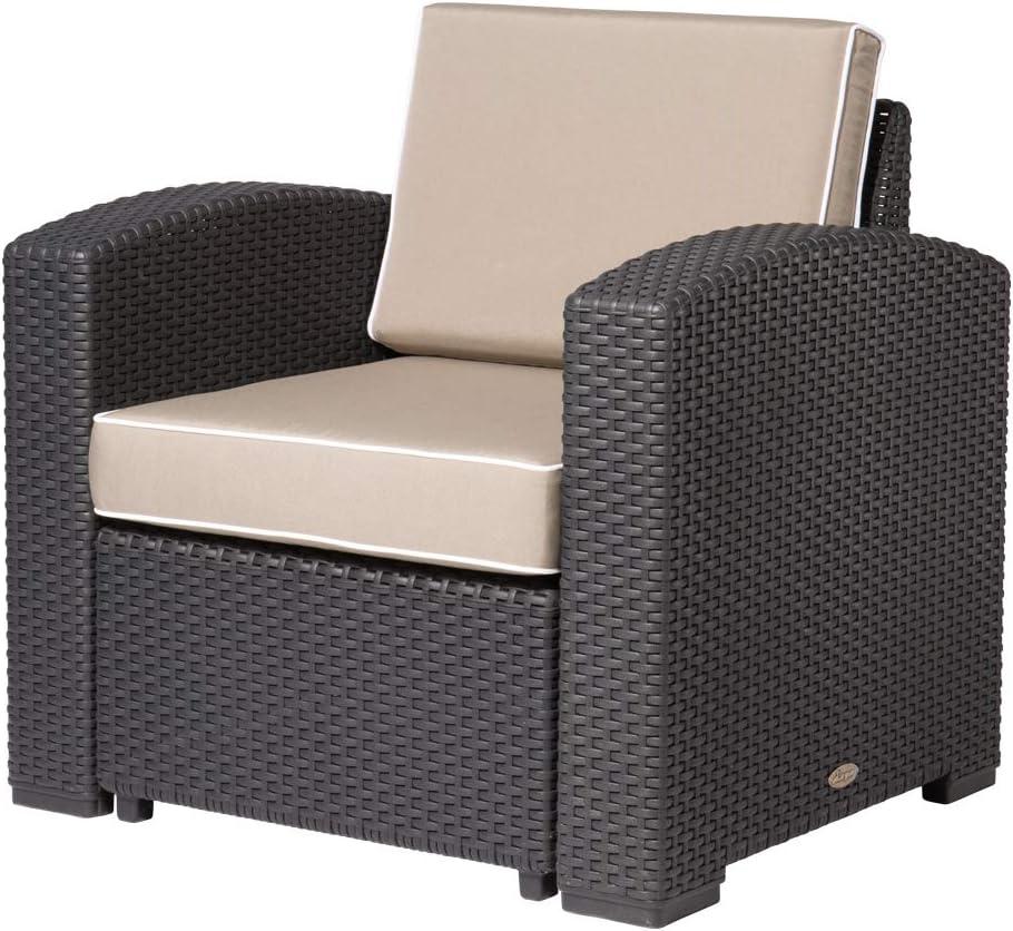 Lagoon Magnolia Large special price Black_Rattan Cheap super special price Club Chair W Kahki Cushion