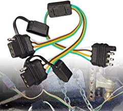 BlyilyB 2PCS Flat 4 Pin Y-Splitter Trailer Extension Harness Connector With Dust Caps For LED Tailgate Light Bar Trailers