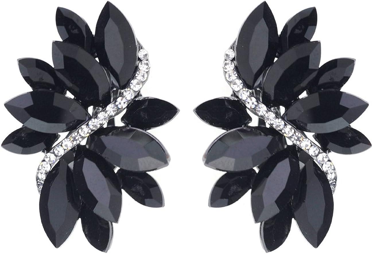 Women's Evening Gala Bridal Prom Wedding Clip On Earrings - Leaf