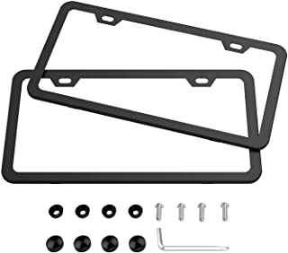Karoad Black License Frames, 2 PCS Stainless Steel Car Licence Plate Covers Slim Design with Bolts Washer Caps for US Standard