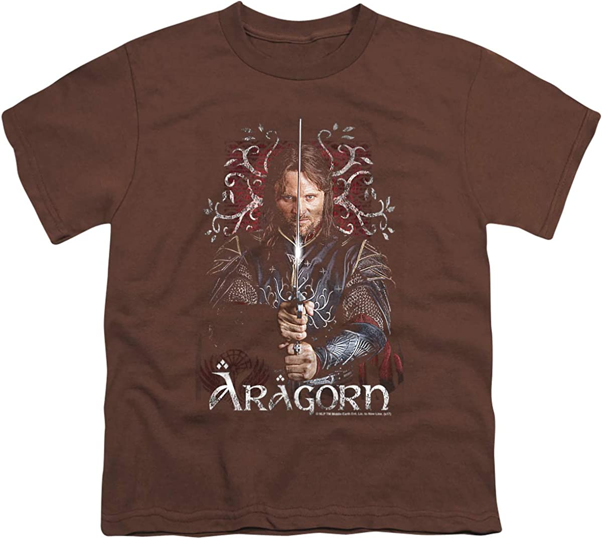 Lord of The Rings Aragorn Unisex Youth T Shirt, Coffee, Small