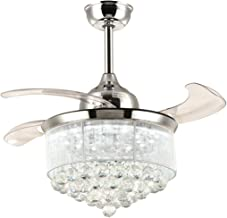 7PM Retractable Ceiling Fans 36 Inch Crystal Invisible Chandelier Fan with Remote Control Dimmable LED Light Warm Daylight Cool White for Decorate Living Room Dining Room Bedroom Chrome Finished