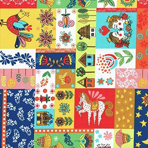 Textiles français Tela - Patchwork de Cuentos Populares - Multicolor | 100% algodón Suave | Ancho: 140 cm (por Metro Lineal)*