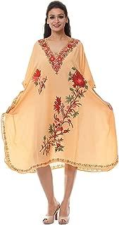 Odishabazaar Cotton Kaftan Kashmiri Embroidered Maxi Long Dress for Women