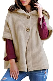COZOCO Abrigo De Media Manga De Invierno para Mujer Suéter con Capucha De Color Liso Abrigo Abierto