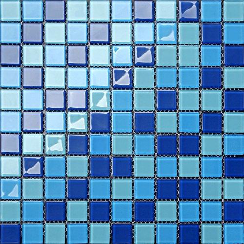 30cm x 30cm Zerbino in vetro mosaico parete Piastrelle blu miscela fogli Aqua (mt0163)