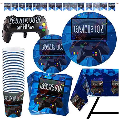 Kompanion 83 Stück Video Gaming Partyzubehör Set einschließlich Banner, Teller, Becher, Servietten, Tischdecke, X-Großes Joystick Controller Ballon - für 20 Personen