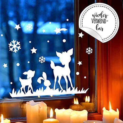 ilka parey wandtattoo-welt Fensterbild Rehe & Hase Fensterbilder Fensterdeko Winterlandschaft *wiederverwendbar* 28x16cm + Sterne & Schneeflocken selbstklebend für Kinder M2254