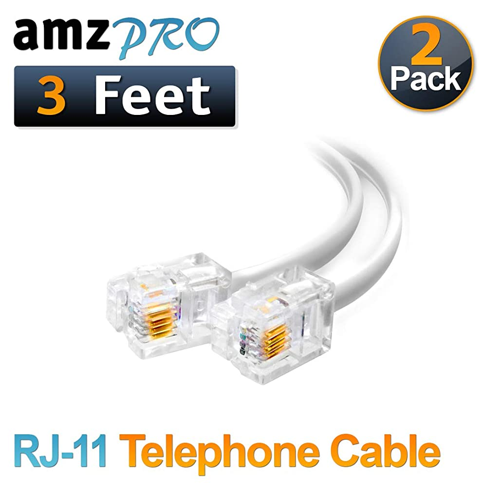(2 Pack) 3 Feet White Short Telephone Cable Rj11 Male to Male 36 inch Phone Line Cord
