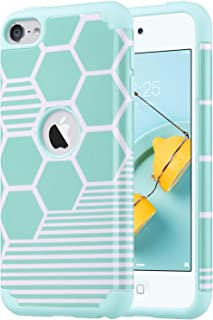 ULAK iPod Touch 5 & 6 Case, iPod Touch 7th Generation Case, Slim Fit Protective Hybrid Dual Layer Soft Silicone and Hard Back Cover for Apple iPod Touch 5th/6th/7th Gen, Honey Comb Stripes
