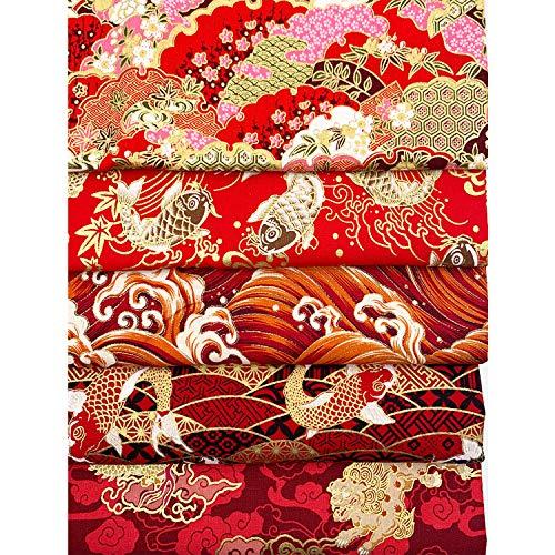 Comius Sharp 5 Stück Red Bronzing Floral Stoff, vorgeschnittener Quilt Quilting Stoff, Wellen, Karpfen, Kirschblüten, Wolken, Drachen 20cmx25cm (Asian Vintage Retro Style)