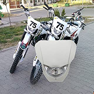 Beautyexpectly White 35W H4 Light Universal Dirt Bike Motorcycle Vision Headlight Street Fighter Headlamp for Honda Suzuki Yamaha Kawasaki Harley Chopper Bobber Cafe Racer