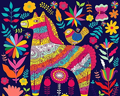 ZIWEIQI Adultos Puzzle 1000 Piezas DIY Clásico Rompecabezas de Madera para Niños Educativo Puzzles descompresión de Interesantes Juguete Caballo Flor pájaro-50x75cm