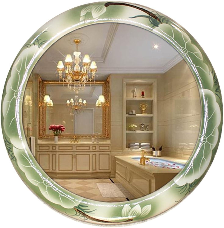 GUOWEI Mirror Circular Ceramics Framed Vintage Wall Hanging Bathroom Makeup 10 Models (color   C, Size   53X53CM)
