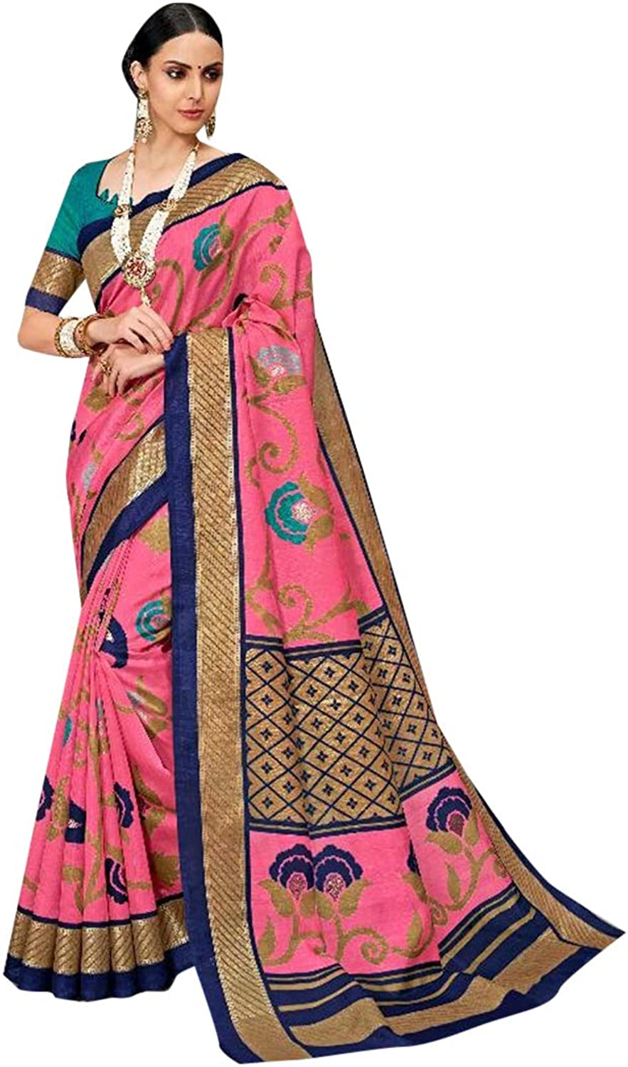 Pink Indian Rich Silk Sari with Stylish Blouse for Women Festive Party wear Designer Saree 7575