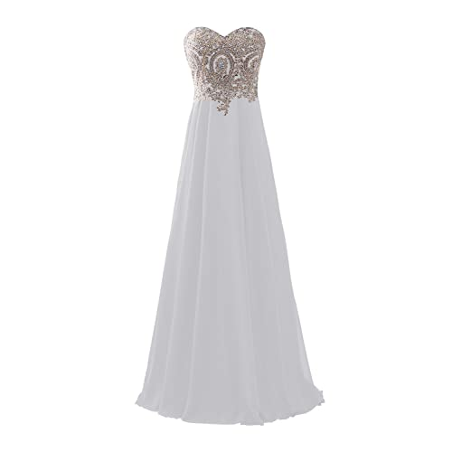 c91cf48f157 Erosebridal Sweetheart Prom Dress with Gold Embroidery Chiffon Bridesmaid  Party Gowns