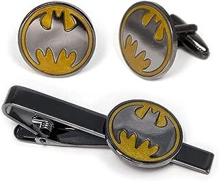 SharedImagination Batman Cufflinks, Batman Tie Clip, Batman Tie Tack Jewelry, Justice League Cuff Links Link Wedding Party Gift, Avengers Groomsmen Gifts