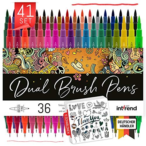 int!rend Dual Brush Pens 41er Set, 36 Farben, 5 Schablonen - Fasermaler, Fineliner, Kalligraphie Pinselstifte, Watercolor, Hand-Lettering, Bullet Journal Stifte, Aquarell, Textmarker, Zeichnen, Malen