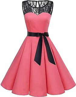 Women's 1950s Vintage Rockabilly Swing Dress Lace Cocktail Prom Party Dress