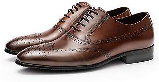 Rui Landed Zapatos Derby de Negocios Oxford Zapatos for Hombres Brogue Premium Genuino Cuero Talla del Bloque de tacón baj...