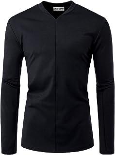 NEARKIN Men Long Sleeve Slit V Neck Front Line Point Trendy T Shirts