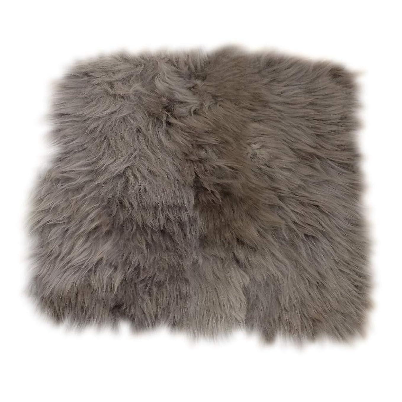 布マスク作詞家ムートン クッション 35×35cm ニュージーランド産 羊毛皮 長毛 500C グレー