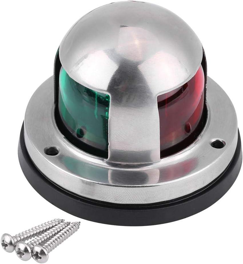 KIMISS 12V/24V Bombilla de navegación, barco marino, acero inoxidable, rojo y verde, LED, luz de señal de navegación, lámpara, accesorio para yates
