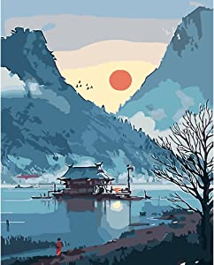 Paint by Numbers Landscape, Japanese Paint by Numbers for Adults Beginner, Paint by Numbers Lake, Home Wall Decor16x20 Inch