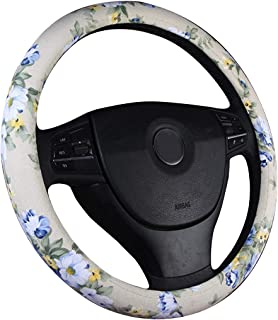 BEIXI Flower Steering Wheel Cover for Women Cloth Cool car Hand Wheel Cover for Girl (Purple Floral)