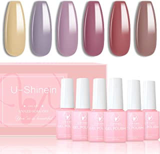 U-Shinein 6 Colors Morandi Gel Polish Kit, Classic Morandi Nude Grey Nails Gel Polish Set Red Yellow Brown Gel Polish Soa...