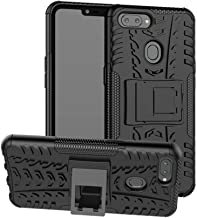 OPPO A5 / A3s Case, Ikwcase Heavy Duty Armor Tough Hybrid Shockproof Dual Layer Kickstand Protective Case Cover for OPPO A5 / A3s Black