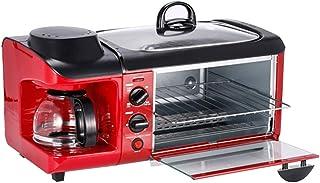 ZTGL Horno Eléctrico Multifuncional 3 en 1 con Cafetera y Sartén Antiadherente, Horno con Temporizador Bandeja Extraíble de Diseño Compacto, Rojo