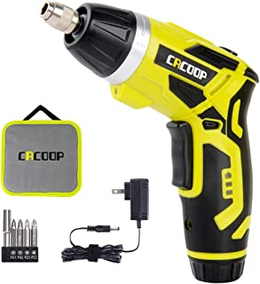 CACOOP Cordless Electric Screwdriver Rechargeable, 4V 1500mAh Battery 2 Position Handle, 1/4