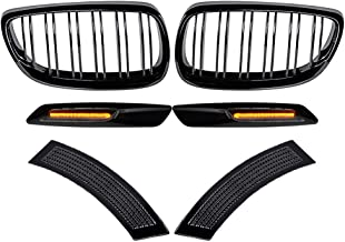 Astra Depot Double Line Glossy Black Front Bumper Kidney Grille with Fender Vent Side Marker Reflectors and Side Marker Lamps Compatible with 2007-2010 E92 E93 3 Series E92 Coupe E93 Convertible
