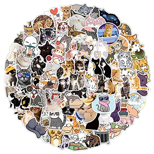 LVLUO Nuevo Kawai gato etiqueta etiqueta chica lindo dibujos animados animal etiqueta DIY maleta papelería refrigerador agua guitarra 100 unids