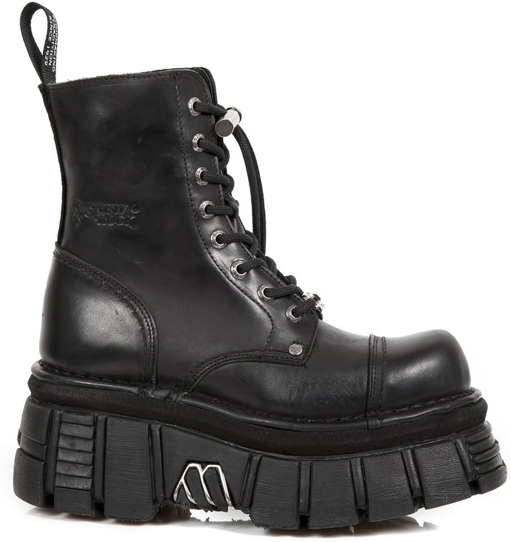 New Rock NR M.NEWMILI083 S21 Black Boots, Metallic