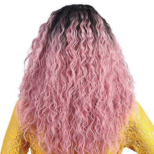 Européens et américains perruque longs cheveux bouclés de fibres chimiques avant de dentelle perruque Lady Black Girl dégradé de rose Perruques Femme XXYHYQHJD