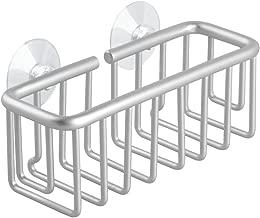 iDesign Metro Rustproof Aluminum Suction Sponge Holder for Kitchen Sink - Basket, Silver