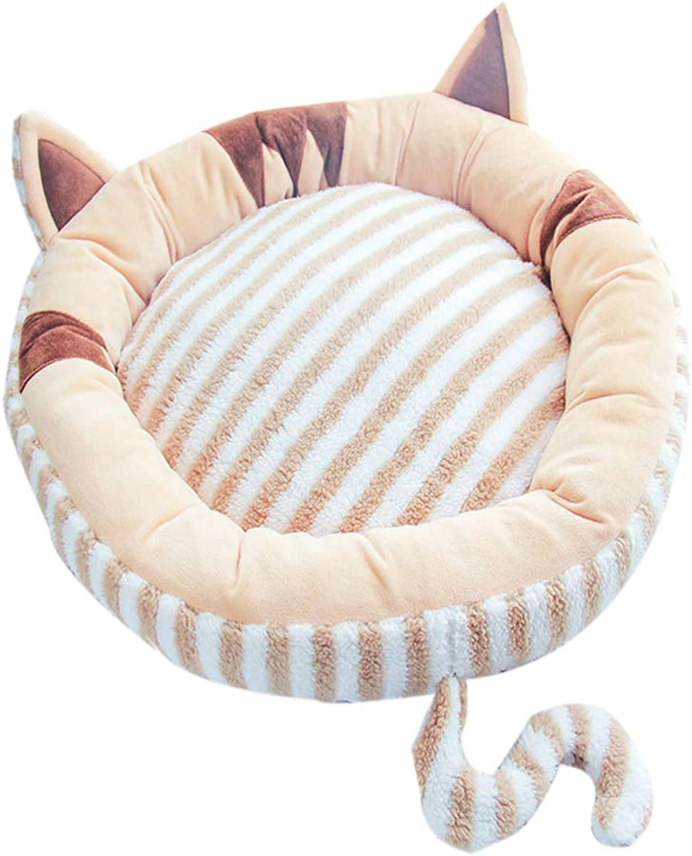 Pet Creative Soft Bed Mat  Cat Dog Round Shaped Sleeping Nest(Brown M Diameter 65cm)