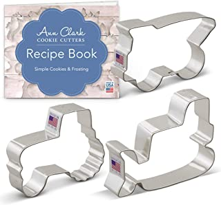 Ann Clark Cookie Cutters 3-Piece Construction Vehicles/Machines Cookie Cutter Set with Recipe Booklet, Bulldozer, Dump Truck and Tractor