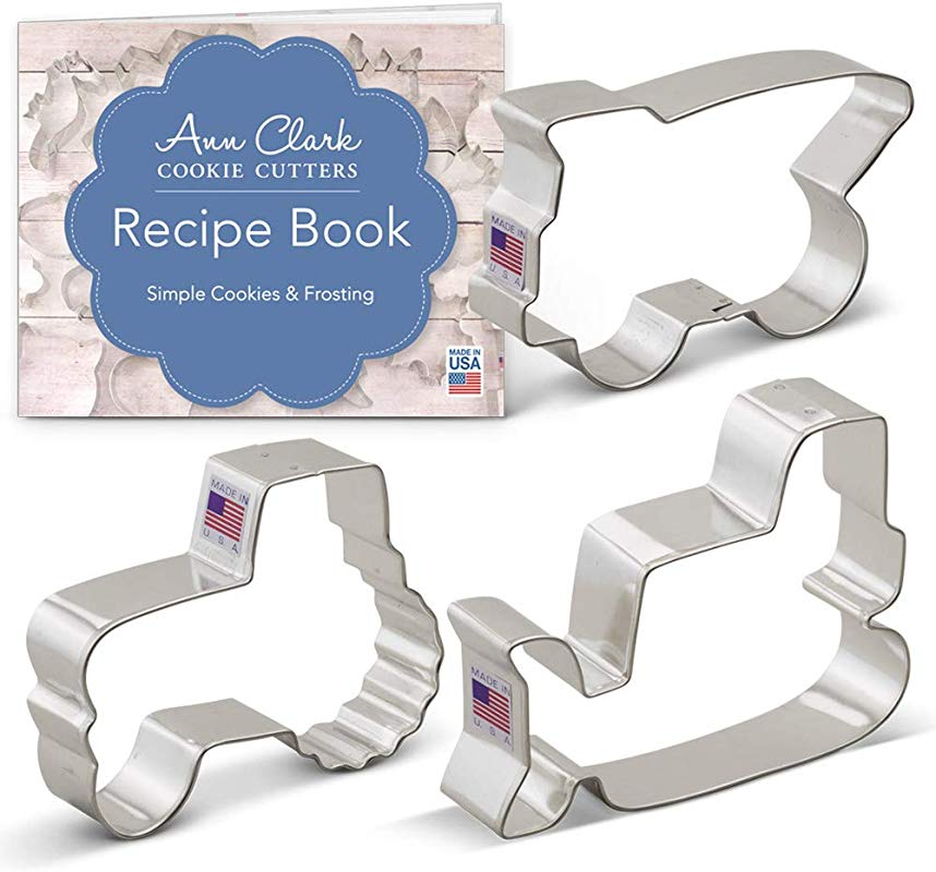Ann Clark Cookie Cutters 3 Piece Construction Vehicles Machines Cookie Cutter Set With Recipe Booklet Bulldozer Dump Truck And Tractor