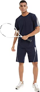 Aibrou Men's Tracksuit Short Sleeve Running Jogging Athletic Sports T-Shirts and Shorts Suit Set