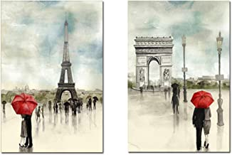 Anna Art European Retro Style Lovers in the Rain with Red Umbrella in Paris Canvas Decor Framed Ready to Hang Wall Art 16 X 24 2P/set