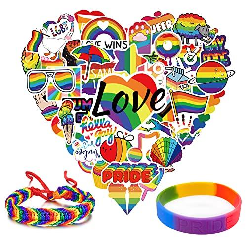 GTOTd Love is Love arcobaleno Gay Pride adesivi (misura grande 50 pezzi P con confezione da 2 bracciali Gay Pride a forma di cuore LGBT arcobaleno adesivi per Pride Rainbow