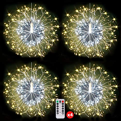 150 LED Firework Lights, Copper String Lights,Battery Operated Hanging Starburst Light, 8 Modes Dimmable Christmas Decorative Twinkle Fairy Lights for Party Yard Garden Bedroom Warm White Pack of 4