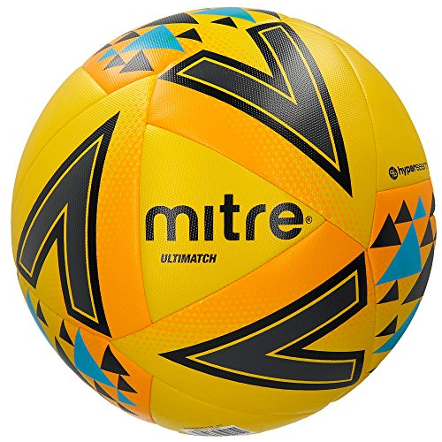 Mitre Ultimatch Match Ballon de Football Jaune/Orange/Bleu Taille 4