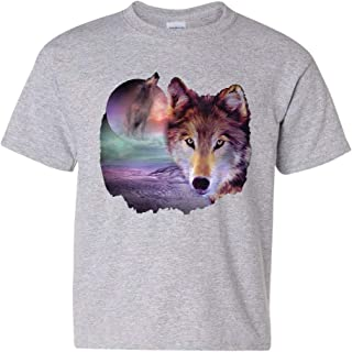 Wolf Howling at Moon Youth T-Shirt Wilderness Wildlife Wild Wolf Pack Kids Tee