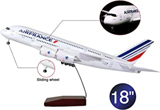 Lose Fun Park 18 Inch(46cm) LED Light 1:130 Model Airplane France Airbus A380 with Landing Gear Aircraft for Gift or Decoration
