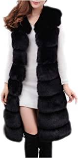 Women's Faux Fur Long Peacoat Warm Vest Sleeveless Luxury Chunky Sweater Cape for Work Daily