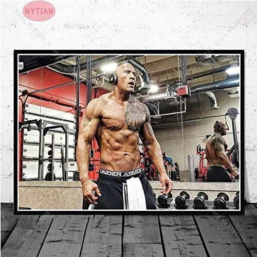 shuimanjinshan Rock Dwayne Johnson Workout Fitness Bodybuilding Pintura Poster Impresiones Arte De La Pared Cuadro De La Lona Decoración De La Sala De Estar del Hogar 50X70Cm Sin Marco H-8875